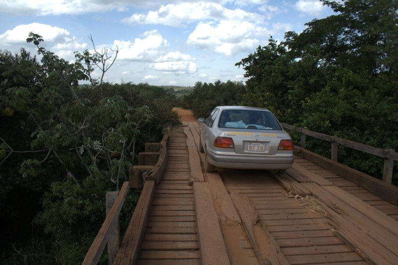 Car crossing a questionable bridge