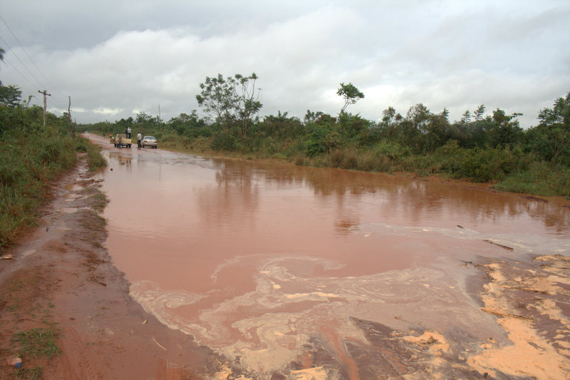 A lake where a road once stood